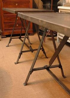 French metal industrial console table c.1940