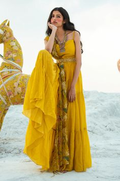 Buy Tiered Anarkali with Printed Dupatta by Paulmi and Harsh at Aza Fashions Indian Fashion Dresses, Indian Gowns Dresses, Dress Indian Style, Indian Designer Outfits, India Fashion, Indian Outfits, Designer Dresses, Fashion Outfits, Lehenga Designs