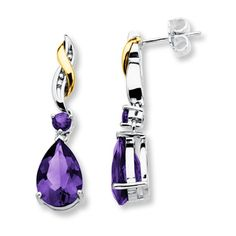 Amethyst Earrings Pear-shaped Sterling Silver/10K Gold