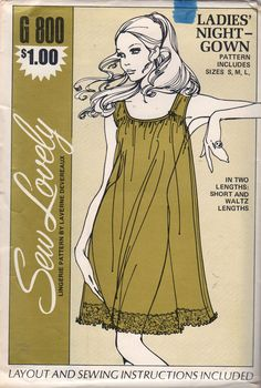 Sew Lovely G800 1970s Misses Nightgown Pattern Designer Laverne Devereaux Two lengths womens vintage lingerie sewing pattern by mbchills on Etsy