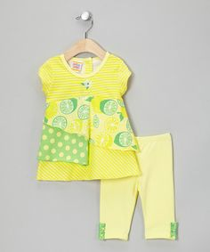 Take a look at this Lemon & Lime Tiered Tunic & Leggings - Infant, Toddler & Girls by Sweet Potatoes on #zulily today!