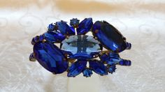 Czech Large Royal Blue Glass and Rhinestone by BlingAndBlueJeans