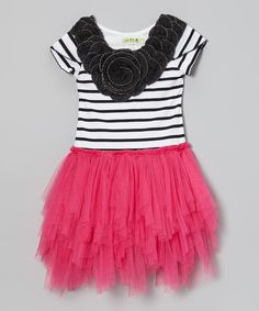 Take a look at this Fuchsia & Black Stripe Tutu Dress - Toddler & Girls on zulily today!