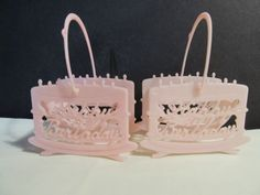 2-VINTAGE-PINK-PLASTIC-HAPPY-BIRTHDAY-NUT-CUP-or-CANDY-BASKETS