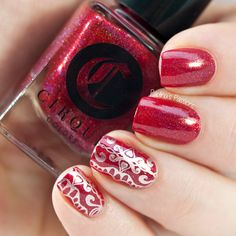 Red and classy stamping nail art by Paulina's Passions