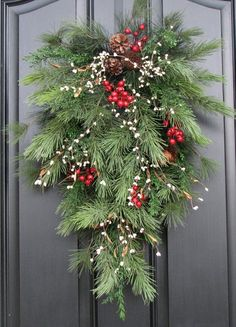 Holiday Swag Wreath - Christmas Pine, Berries and Pinecones Swag for Front Door decor. Front Door Christmas Decorations, Christmas Swags, Noel Christmas, Outdoor Christmas, Holiday Wreaths, Rustic Christmas, Christmas Projects, Christmas Greenery, Winter Wreaths