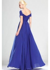Chic Ruffles Floor Length Sweetheart Prom Dress With Cap Sleeves