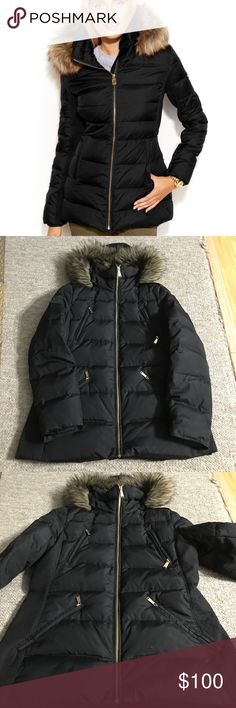 Michael Kors Puffer Jacket Black Puffer jacket in excellent condition has hood attached size P Medium ,gold accents like new MICHAEL Michael Kors Jackets & Coats Puffers