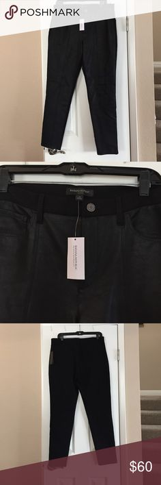 Banana Republic faux leather stretch pant Nwt. Front of pant is faux leather. Back of pant and waist band are stretchy legging material. Pockets on front and back of pant. Sz. 12 Banana Republic Pants Skinny