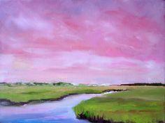 Chartreuse Marsh under Rose-Pink Sky, Coastal Landscape 9x12 oil. $150.00, via Etsy.