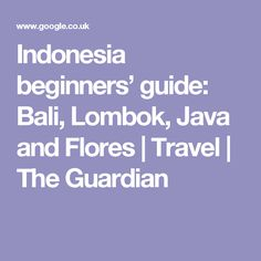 Indonesia beginners' guide: Bali, Lombok, Java and Flores | Travel | The Guardian