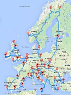 This Map Shows How to Take an Epic Road Trip Across Europe. 45 cities, months of sight seeing with only 14 days driving.