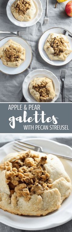 Apple & Pear Galettes with Pecan Streusel - Apples and pears harmonize with cinnamon, nutmeg, and brown sugar in a buttery, flaky galette crust that is then topped off with a pecan streusel. (GF) | passmesometasty.com