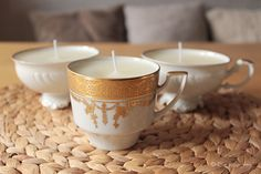 Die Raumfee: DIY Tassenkerzen - aus Vintage-Tassen und Kerzenresten // cup candles - made of vintage cups and candle remains