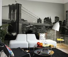 Perswall fotobehang Destinations, N. Skyline- Lets's be Frank about the skyline (zwart-wit) Cityscape Wallpaper, City Wallpaper, Room Wallpaper, Photo Wallpaper, Wallpaper Murals, Ny Skyline, Baroque Furniture, Black And White Wallpaper, Brooklyn Bridge