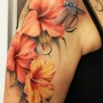 Hibiscus and Dragonfly Tattoo - More tattoo designs available at www.99tattoodesigns.com
