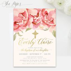Girl Baptism Invitation Floral : Christening by SeaPaperDesigns