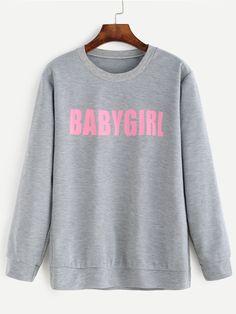 5131db40c Grey Letter Print Sweatshirt Sweatshirts Online