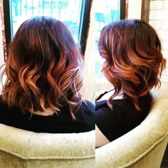 Custom deep red melted down into some neutral balayage. All redken color and Arrojo hair products used