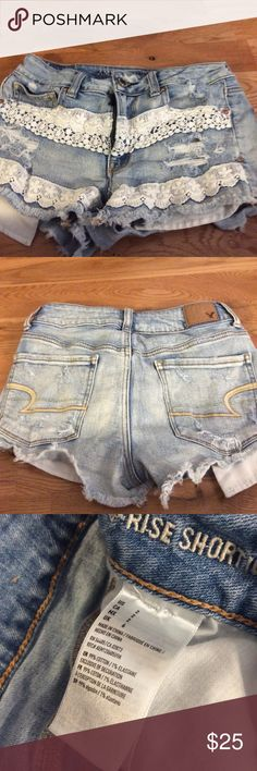 American Eagle High Rise Distressed Shorts American Eagle High Rise Shorts Size 2 Light wash, Distressed Dress fabric sowed in on the front, very stylish  High waisted  Great gift Tap in American Eagle Outfitters Shorts Jean Shorts