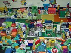 Making Model Communities - one way for children to express their learning on amenities and services. Kids will need to have  reasons/justifications why they include a certain amenity or service in their models. Plus, their models were made using recycled materials!  :-)