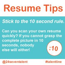 resume tip quick resume tip 10 second rule resume tip