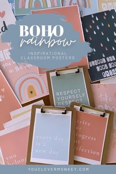 This beautiful set of inspirational posters with modern rainbows and earthy abstract designs in a calming boho color palette are perfect for building resilience and a growth mindset in your classroom. Made to match our other modern BOHO RAINBOW Classroom Decor, there are 3 different sets of posters to choose from with a mix of different inspiring quotes to display in class #bohorainbowclassroom #growthmindset #positivemindset Classroom Posters, Classroom Displays, Classroom Decor, Inspirational Posters, Inspiring Quotes, Growth Mindset Posters, Abstract Designs, Rainbow Decorations, Behaviour Management