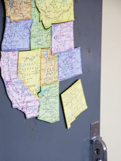 Turn an old map into magnets. Then use them as a geography center during social studies or ANY time to reinforce what you're learning! {Great for states, world map, different countries, or whatever you're learning about! Projects For Kids, Craft Projects, Crafts For Kids, Arts And Crafts, Map Crafts, Puzzle Crafts, Travel Crafts, Craft Ideas, Decor Ideas