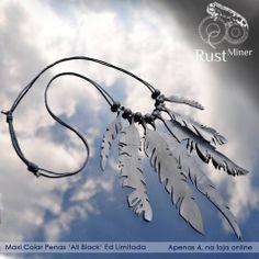 Maxi Colar Penas 'All Black' - Feitos de câmara de ar de bicicleta. Ed. Limitada. Rust Miner #Pendant #necklace #upcycle
