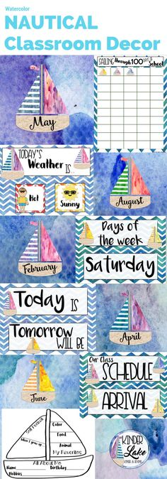 Watercolor Nautical Classroom Decor pack. This pack includes birthdays, weather, schedule, all about me, days of the week, months, 100 days chart, Today, tomorrow, yesterday, & welcome back banner Classroom Board, Classroom Decor, Bulletin Board, First Day Of School, Back To School, Class Board Decoration, Welcome Back Banner, Nautical Theme Decor, New Years Tree