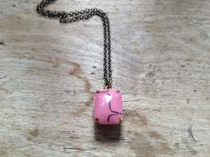 ROSA  Vintage Glass Necklace in Antiqued ox brass by KUPARI, $20.00