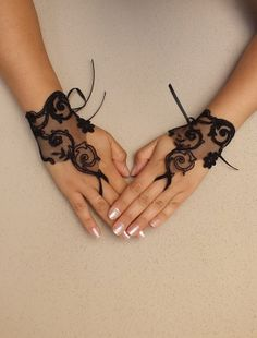 Black rose Goth gothic Black lace gloves french by WEDDINGHome, $25.00
