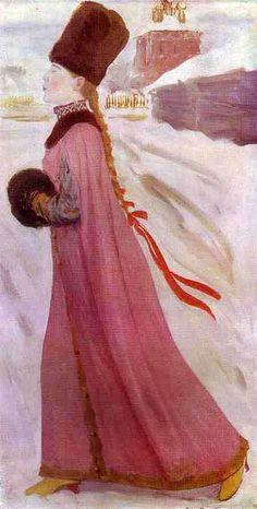 Ryabushkin, Andrey (1861-1904) - 1903 Moscow Girl of the XVII century.