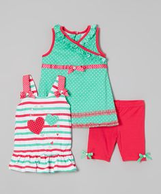 Look at this Nannette Girl Turquoise & Pink Polka Dot Dress Set - Girls on #zulily today!