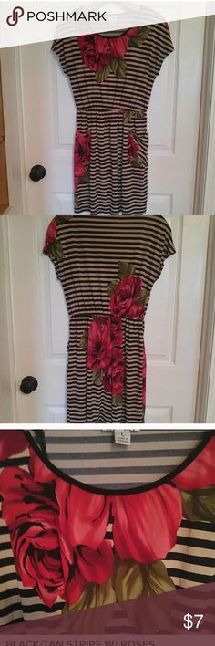 🌹Adorable Striped Dress with Rose Accents🌹 This dress is stretchy with an elastic waistband. The material is virtually wrinkle-free. Wear as a mini dress or a tunic with tights. Great condition. Sweet Storm Dresses Mini