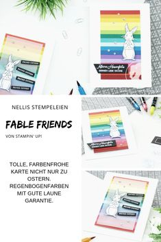 Farbenfroh mit dem Stempelset Fable Friends & Hasengrüsse von Stampin' Up! Project Life, Stampin Up, Catalog, Friends, Cards, Inspiration, Paper, Rainbow Colours, Happy Easter