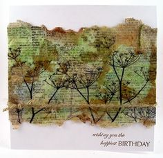 Stamping on tissue paper & apply over stamped background - what an end result!