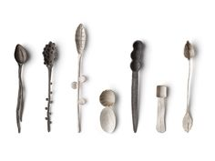 This past week, Basel, Switzerland opened the doors to its latest global affair: Tresor Contemporary Craft. We were on the ground to check out the fair's debu. Metal Jewelry, Jewelry Art, Robin, Spoon Art, Ceramic Spoons, Paris Design, Silver Spoons, Everyday Objects, Contemporary Jewellery