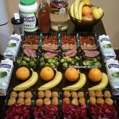 Before anything else preparation is the key to success. Alexander Graham Bell.  #MealPrep complete   AM Energy Boost 1.5oz Dates 2oz Dried Golden Berries 1.5oz Raw Almonds & @DrinkOrgain Shake.  Lunch 6oz Grass-Fed Flat Iron Steak w/ 6oz Steamed Brussel Sprouts.  PM Energy Boost Banana Orange & @DrinkOrgain Shake.  Dinner 6oz Turkey Meatballs w/ 6oz of a Red Cabbage Balsamic Vinegar and Cranberry Sautée.  Drinks Lemon Cucumber Cranberry & Mint Water Chia Seed #Kombucha & @NakedJuice Organic…
