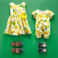 Toddler and baby girl fashion | Kids' clothes | Lemon print | Romper | Dress | Sandals | The Children's Place