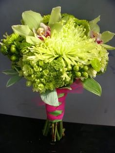 beautiful green bouquet, replacing pink with orange would be lovely