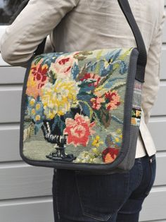 Flower bag, recycled embroidered tapestry and other sturdy fabrics, like tweed or corduroy, make into a satchel. (ELM)