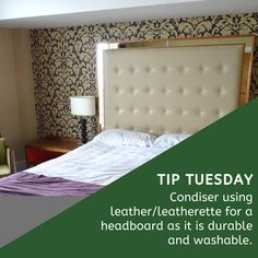 Upholstered headboards are quite popular. Aside from being comfortable, they also make a design statement. It is, however, important to choose the right finish. A leather-upholstered headboard gives a sophisticated look to your bedroom and has many advantages: - Leather is strong and durable. - It is easy to maintain; stains can easily be cleaned with a damp cloth and it doesn't absorb smells and odours. - Leather ages very well. Contact Nikos on 011 268 0329/nikos@marysinteriors.co.za Upholstered Headboards, Very Well, Soft Furnishings, Mattress, Interior Decorating, Mary, Stains, Popular, Bedroom