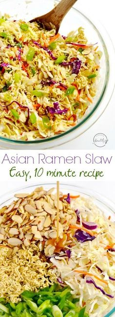 Asian Ramen Slaw (Easy, 10 Minute Recipe) - Everybody loves this tangy, crunchy, easy, Asian ramen slaw. So delicious and ridiculously simple! Ramen Coleslaw, Coleslaw Mix, Cooking Recipes, Healthy Recipes, Easy Recipes, Asian Slaw Recipes, Ramen Recipes, Cooking Fish, Cooking Salmon