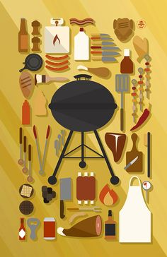 Grilling Collection   Assemblage Design   Knolling Poster   Graphic Art Print   Theres no denying the crowd-gathering power of the smell from a hot grill, but everyone knows the apron-wearer is the only cook allowed to flip the meats. This grilling collection, laid out in a knolling art display, assembles over 30 items related to seasoning, marinating, roasting, and frying. By DaydreamHunter on Etsy.