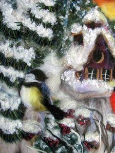 "Купить Картина шерстью ""У зимней кормушки"" - снегирь, синица, кормушка, зима, птицы"