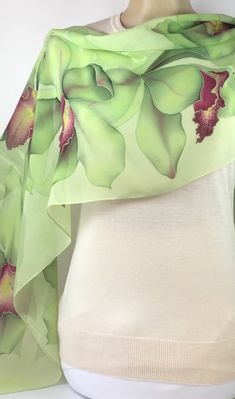 Hand Painted Silk Scarf Lime orchids Wine-red centers,Batik,Silk Painting, Delightful gift for her Fashion Office, Fabric Painting, Painting Flowers, Silk Art, Indian Designer Outfits, Beautiful Patterns, Silk Scarves, Silk Chiffon, Hand Painted