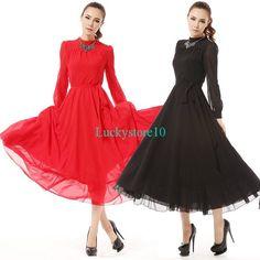 Retro Elegant Summer Long Sleeve Chiffon Evening Party Ball Gown Maxi Long Dress