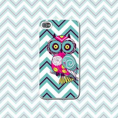 Bright Chevrons With Cute Owl - Colorful Cell Phone Case for iPhone 4/4s, iPhone 5/5s/5c, Samsung Galaxy S4, Galaxy S3 - Custom Accessory