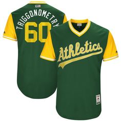 """Andrew Triggs """"Triggonometry"""" Oakland Athletics Majestic 2017 Players Weekend Authentic Jersey - Green"""